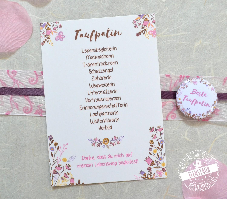 taufe karte Taufpatin Danke Karte mit Button als Geschenk   feenstaub.at   SHOP