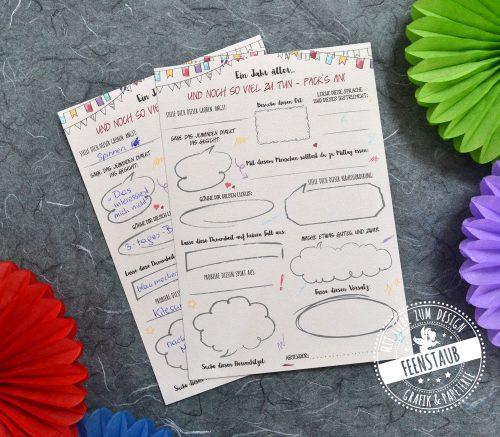 Gästebuch Karten mit Fragen für Geburstag
