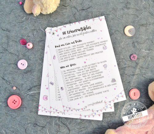 Checkliste für Fotoideen im ersten Babyjahr
