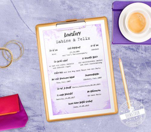 Lovestory Print zum Hochzeitstag