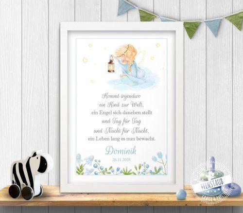Schutzengel Print mit Spruch zur Geburt oder Taufe