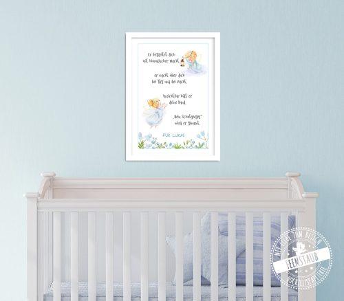 Engel Bild mit Spruch als Geschenk zur Geburt oder Taufe
