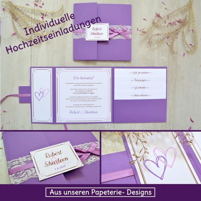 Individuelle Hochzeitseinladungen mit spitze und Lila als Pocketeinladung
