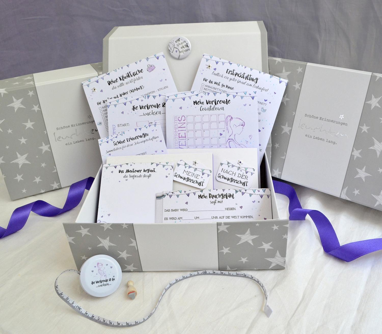 Schwangerscahftsbox zum Sammeln von Erinnerungen und als Alternative zum Schwangerscahftstagebuch