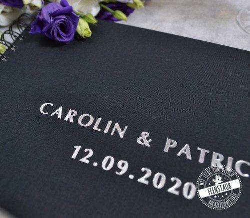 Gästebuch Hochzeit in schwarz und silber, personalisierbar
