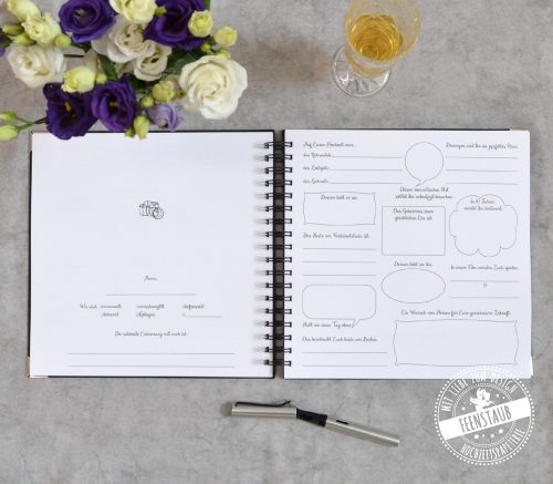 Gästebuch für die Hochzeit mit Fragen zum Ausfüllen an die Gäste, individuell