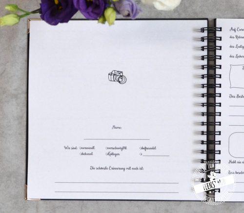 Hochzeitsgästebuch zum Ausfüllen, personalisierbar nach Wünschen des Brautpaares
