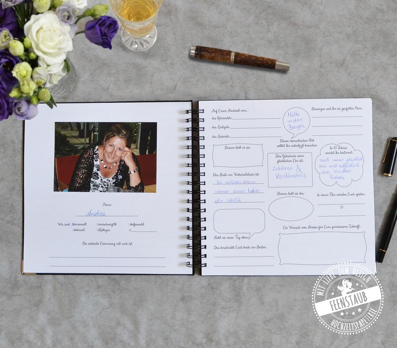 Gästebuch auf Hochzeit zum Ausfüllen mit Fragen