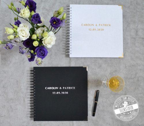 Gästebuch für die Hochzeit mit vorgedruckte Fragen an Hochzeitsgäste