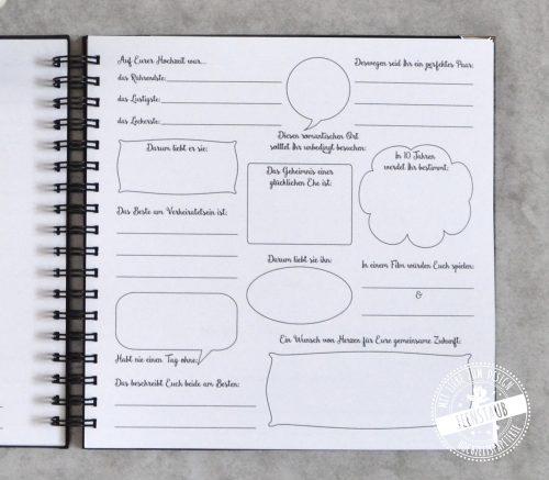 Fragen an die Hochzeitsgäste im Gästebuch