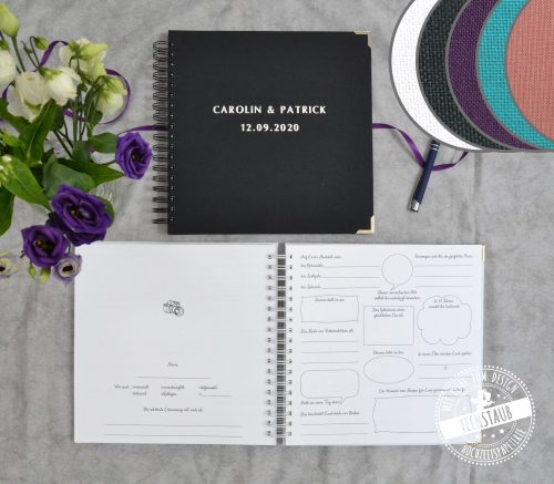 Gästebuch für Hochzeit mit Fragen zum Ausfüllen personalisierbar