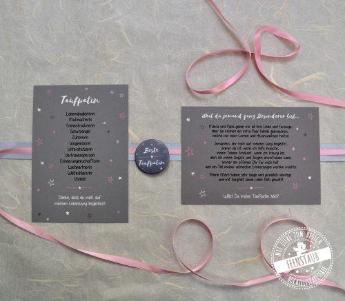 Taufpatin Karten mit Button Geschenk zur Taufe