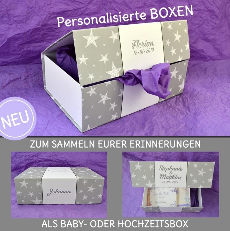 personalisierte Box für Hochzeit und Baby zum Sammeln eurer Erinnerungen