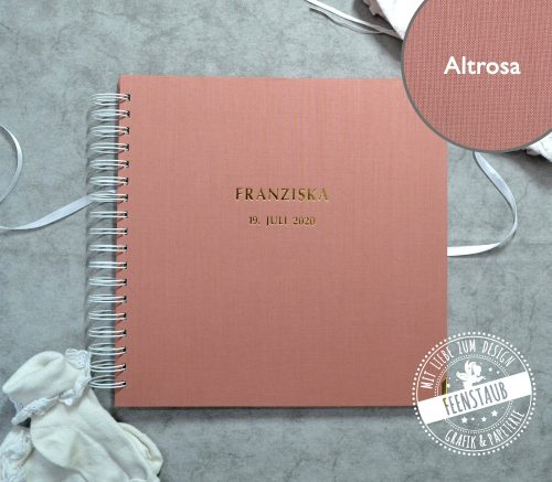 Gästebuch für Hochzeit in Altrosa mit personalisierter Prägung