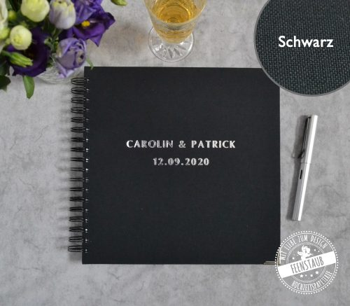 Hochzeitsgästebuch mit silberner Prägung
