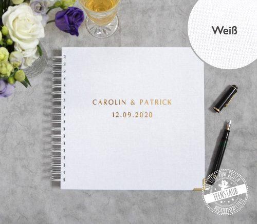 Gästebuch für die Hochzeit, Spiralbindung mit individueller Prägung