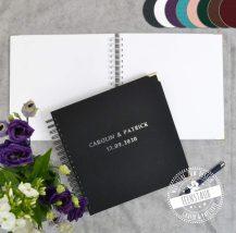 Hochzeitsgästebuch personalisierbar mit Namen und Datum in vielen Farben