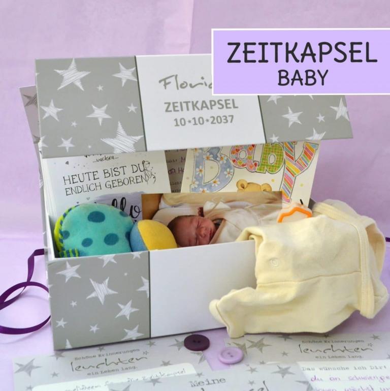 Zeitkapsel für Babys, Inhalt, Ideen und Karten um Ausfüllen