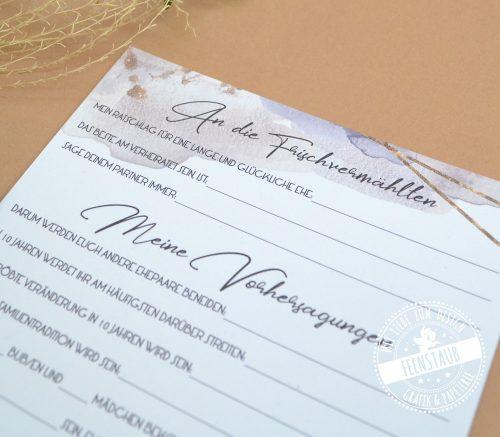 Wünsche und Vorhersagungen für das Brautpaar gästebuchidee zur Hochzeit