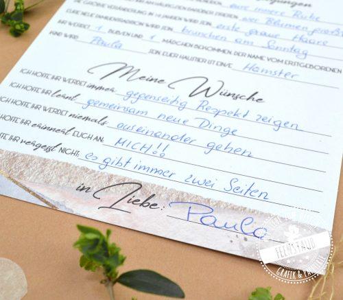 Gästebuchkarten für die Hochzeit zum Ausfüllen