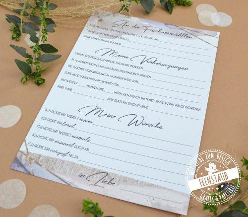 Gästebuchkarten für Hochzeit mit vorgedruckten Fragen an die Hochzeitsgäste