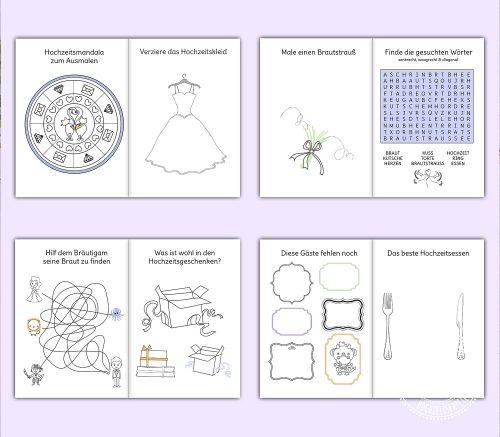 Malheft Rätselheft für Kinder auf der Hochzeit
