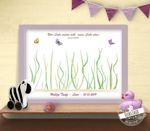 Fingerabdruckbild Blumen zur Taufe