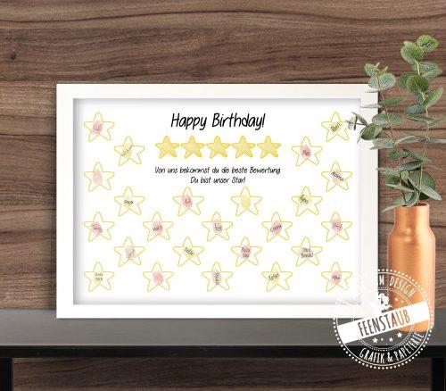 Personalisierbarer Geburtstagsprint für Fingerabdrücke