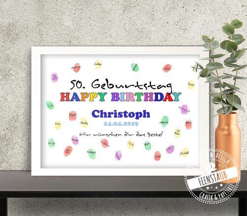 buntes Fingerabdruckbild für Geburtstag