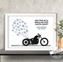 Fingerabdruck Leinwand mit Motorrad