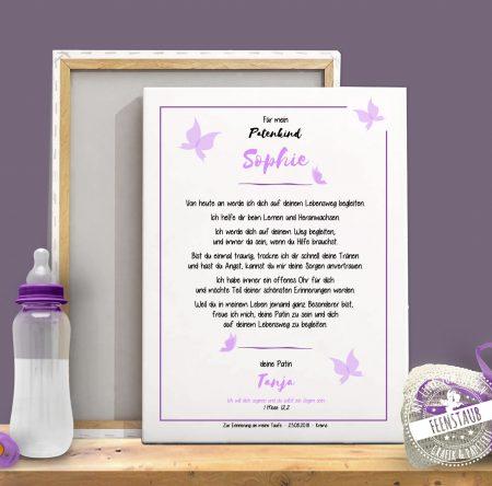 Patenbrief mit Taufversprechen für das Patenkind