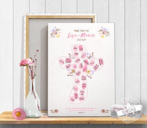Fingerabdruckbild auf Leinwand Kreuz