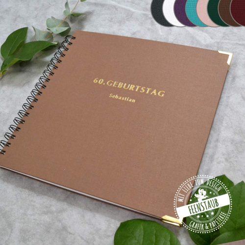 Geburtstag Gästebuch personalisierbar aus Leinen