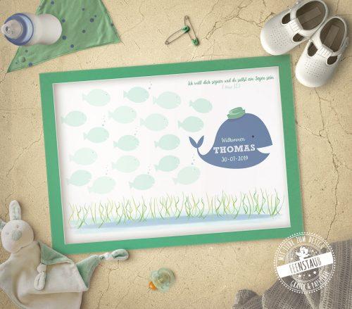 Gästebuch Idee zur Taufe mit Wal und Fische