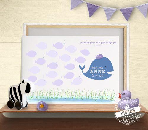 Fingerabdruck Bild mit Fische für Taufe
