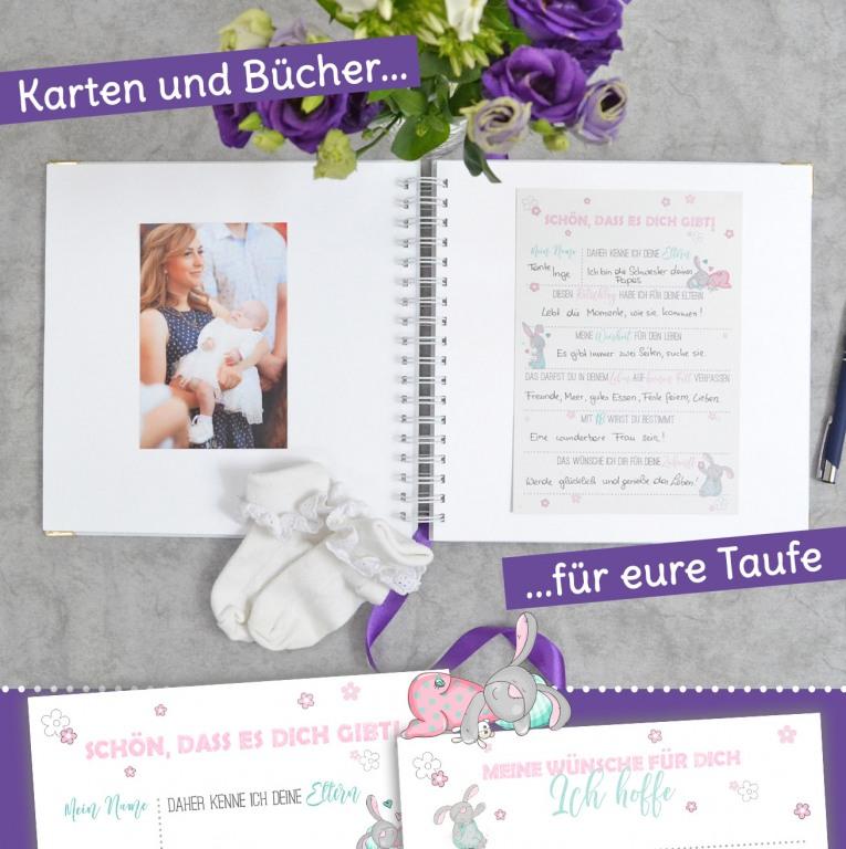 Gästebücher und Karten für eure Taufe