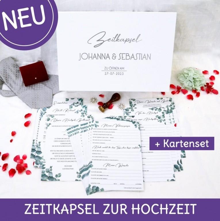 Zeitkapsel für die Hochzeit mit Karten im Inhalt, personalisier