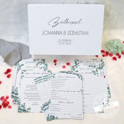 Hochzeitszeitkapsel Box mit Kartenset zum Ausfüllen