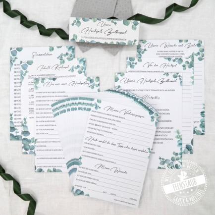 Karten für Zeitkapsel zur Hochzeit zum Ausfüllen von Gästen und Brautpaar