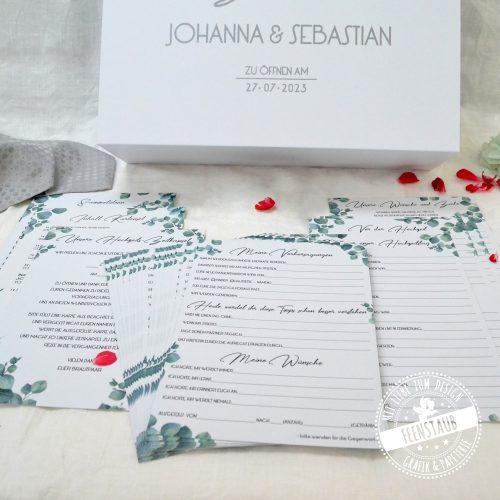 Zeitkapselbox mit Karten zum Ausfüllen - zu öffnen am 1. Hochzeitstag