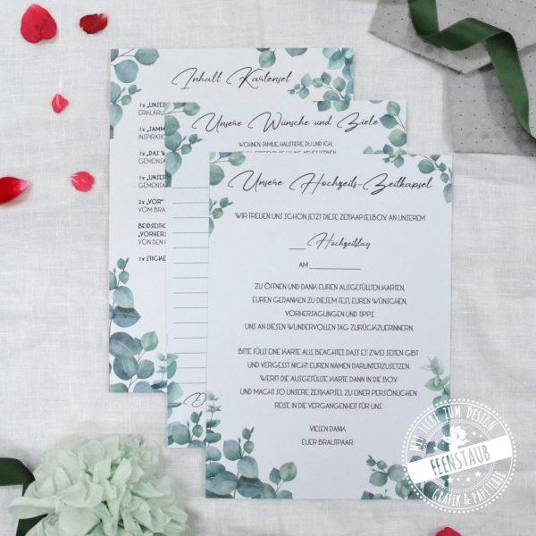 Karten Set von Feenstaub für die Zeitkapselbox zur Hochzeit