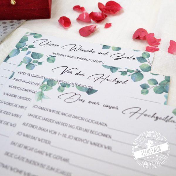Zeitkapsel Hochzeit Karten zum Ausfüllen