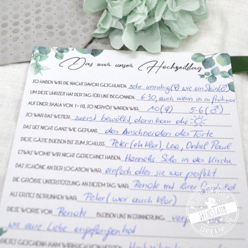 Zeitkapsel Karte Das war unser Hochzeitstag ausgefüllt vom Brautpaar