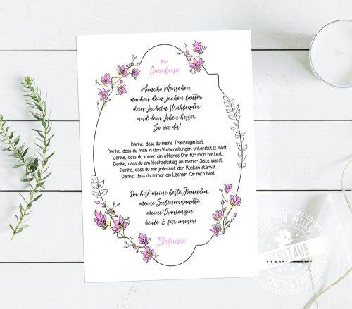 Geschenk an die Trauzeugin und beste Freundin, Print mit Spruch