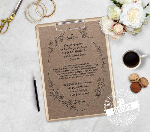 Geschenk für Trauzeugin Spruch Vintage auf Kraftpapier