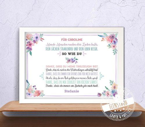 Geschenk für die Trauzeugin, Print mit persönlichem Spruch