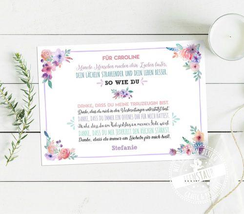 Trauzeugin Bild ein Dankeschön von der Braut