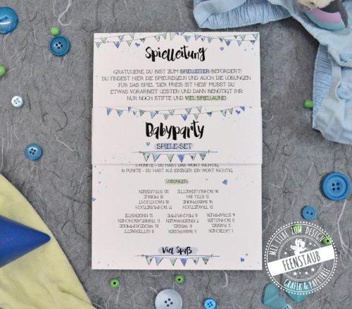 baby-shower spiele set für die gäste