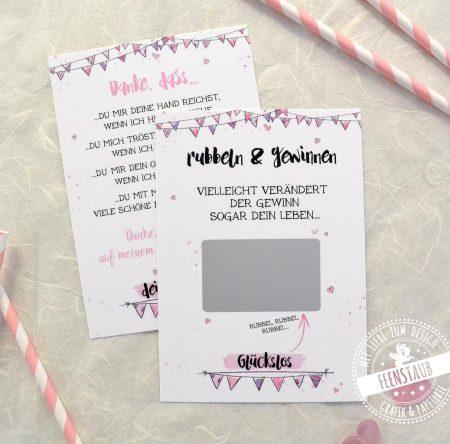 taufpatin fragen mit Rubbelkarten in rosa