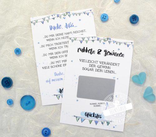 rubbelkarte für taufpaten mit dankeskarte im set blau